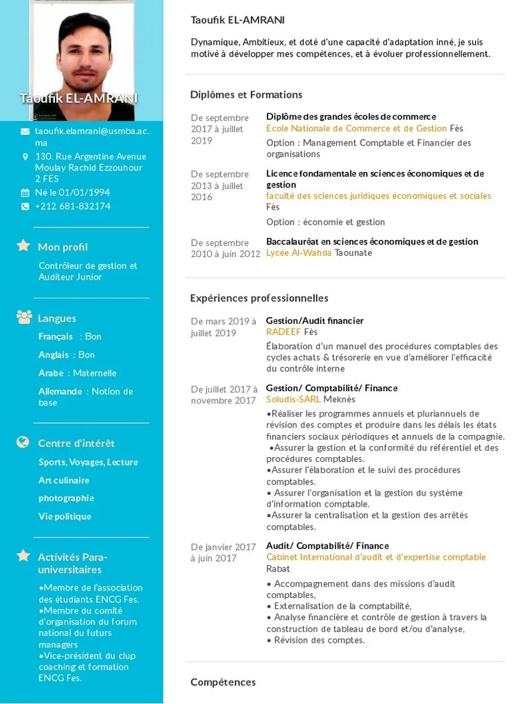 Cv 1 Audit Comptabilite Et Audit