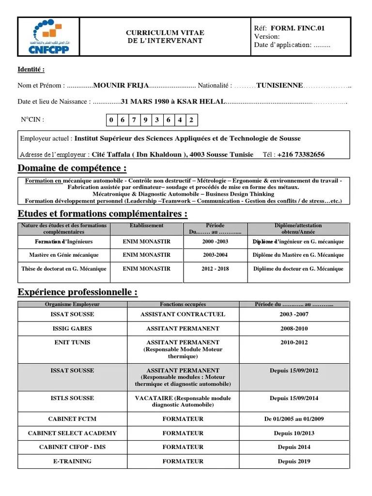 Cv Mounir Frija Formateur Mecatronique Ingenierie