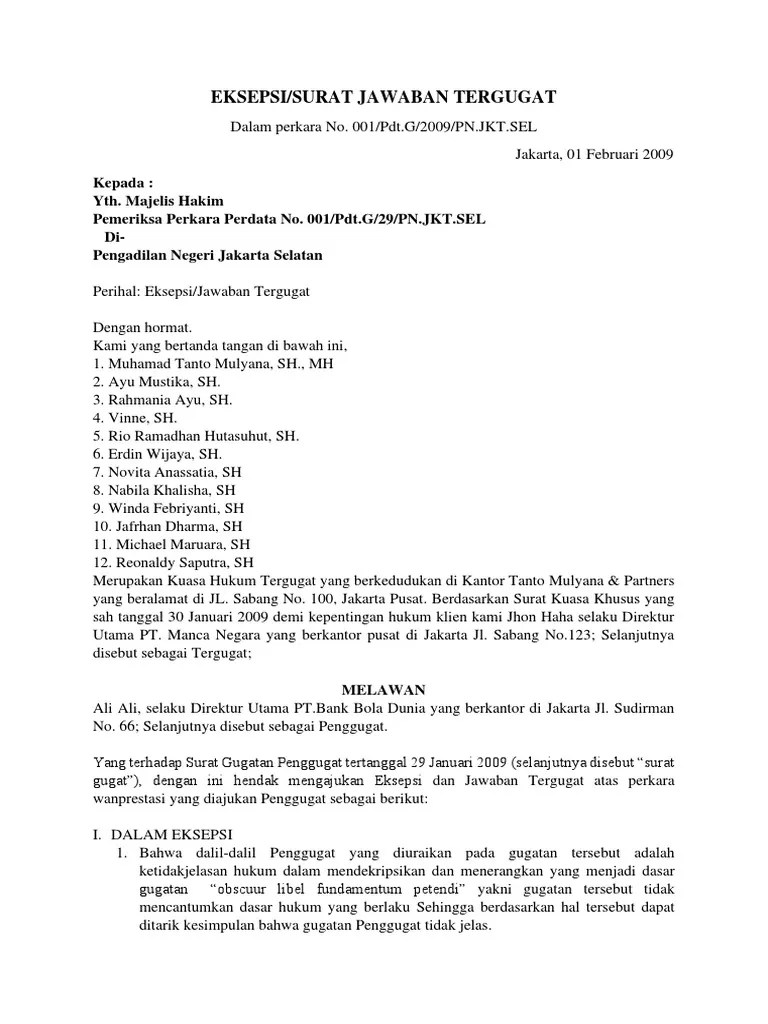 19 Contoh Surat Jawaban Wanprestasi