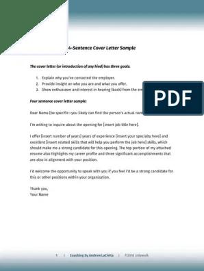 4 Sentence Cover Letter V3 Andrew Lacivita Pdf Job Interview Books