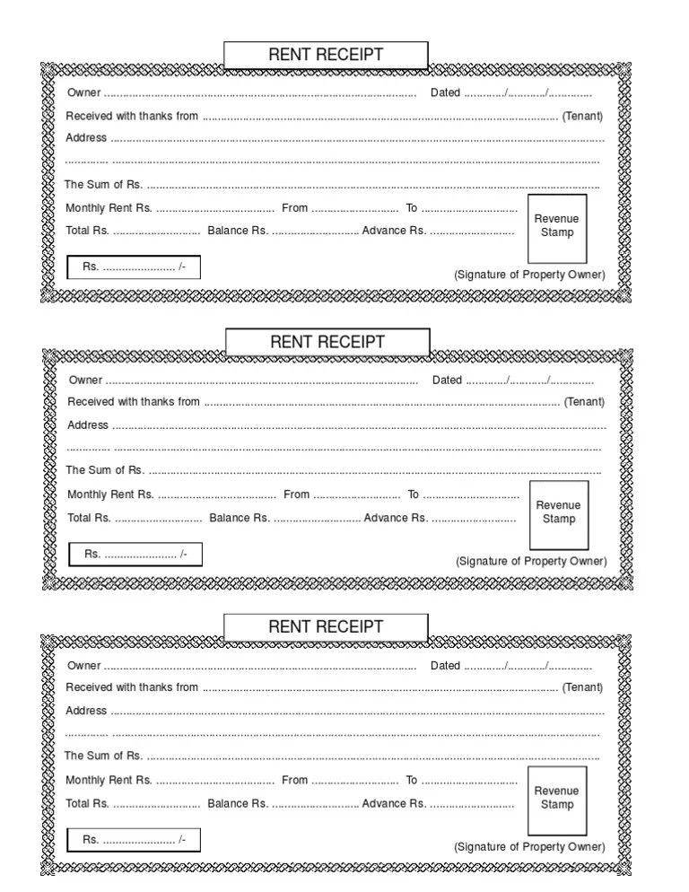 Doc585627 House Rent Receipt Format Rent Receipt Template 9 – House Rent Receipt Template