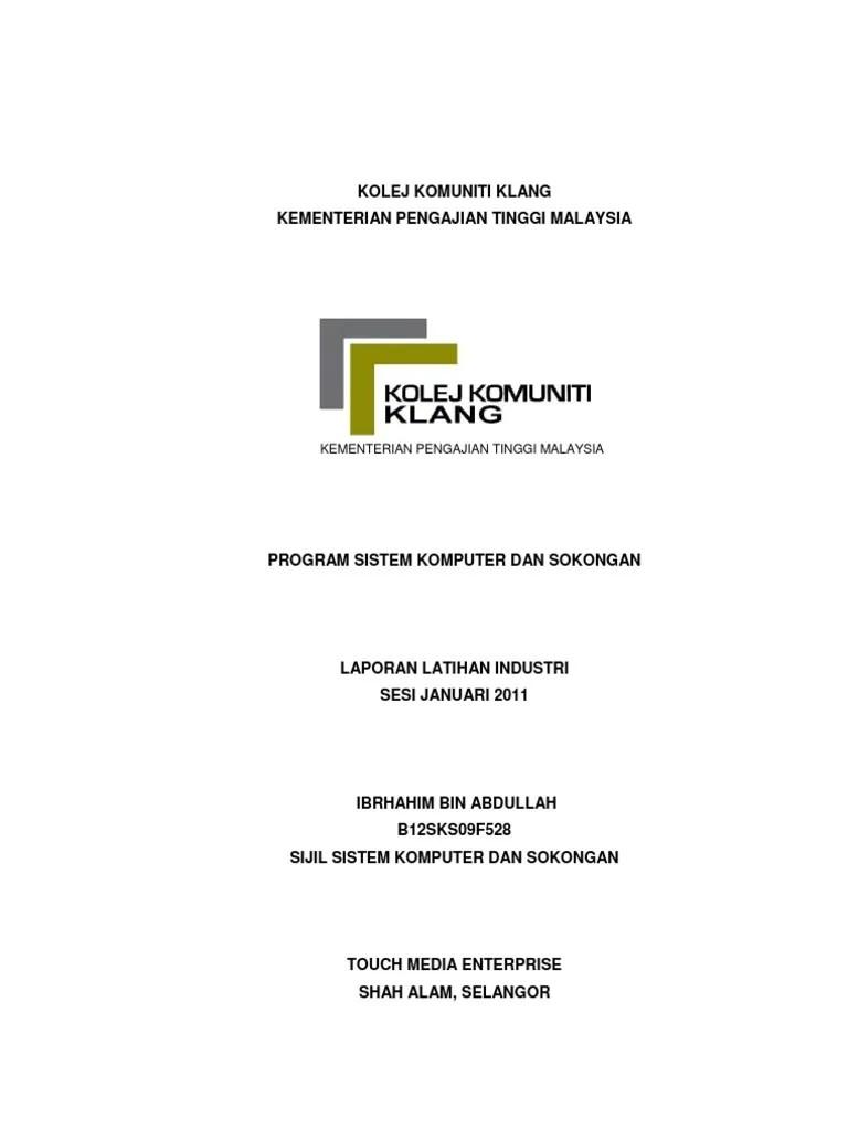 Laporan Harian Latihan Industri Kolej Komuniti