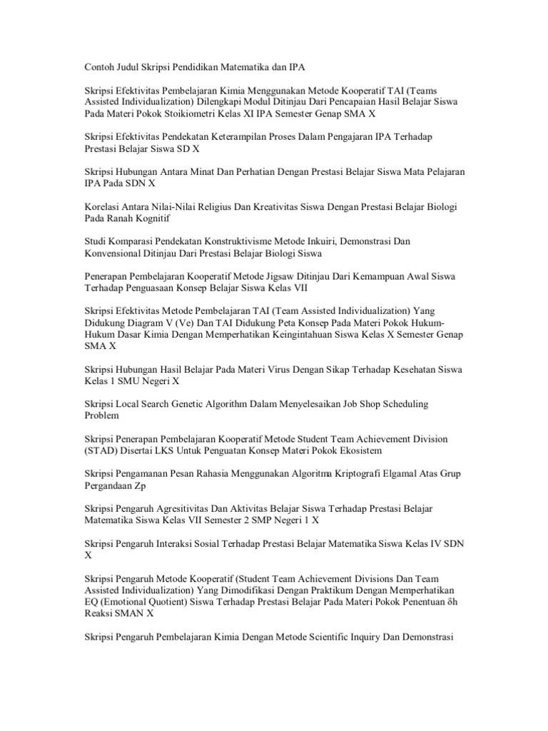 20 Judul Skripsi Pendidikan Matematika Korelasi