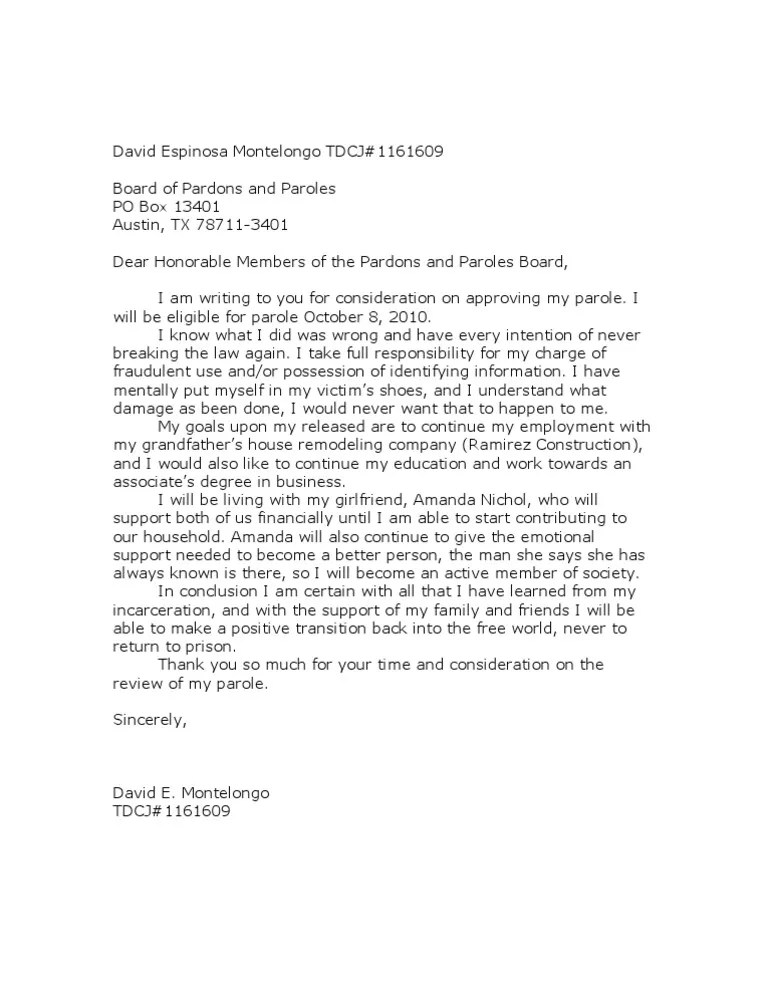Examples Of Parole Support Letters In Texas
