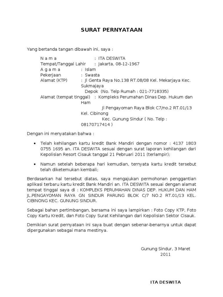18 contoh surat pernyataan penggantian