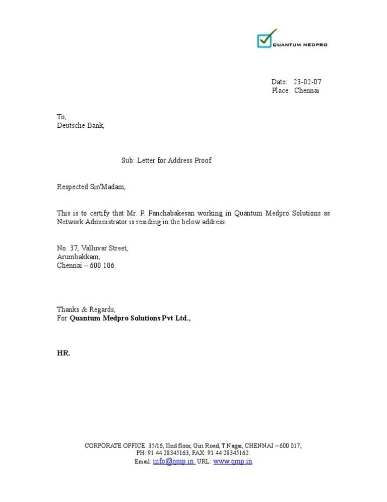 Address Proof Letter Residing
