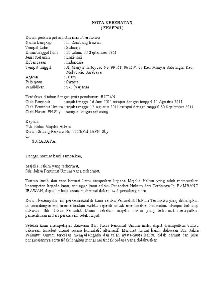 14 Contoh Surat Eksepsi Kasus Perdata