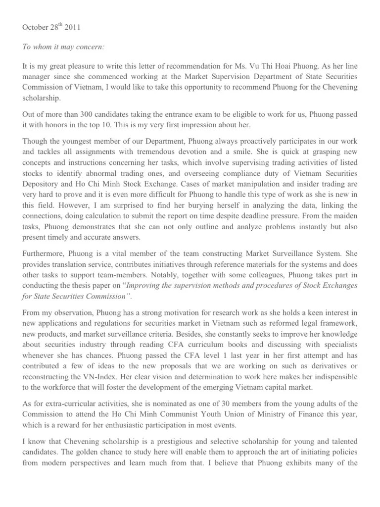 Letter Of Recommendation Chevening