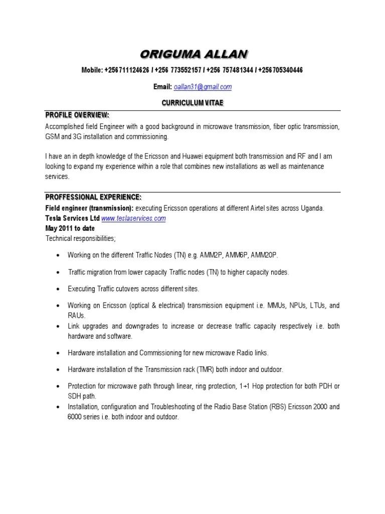 ericsson noc engineer resume need a good resume template skill
