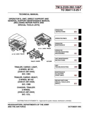 ARMY TM 9233039214P M1102 & M1102 Trailer Tech Manual Apr01