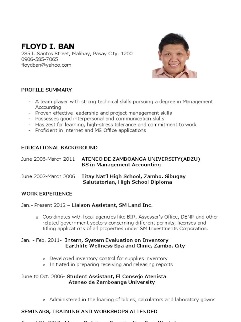 sample resume for fresh graduates accounting science and