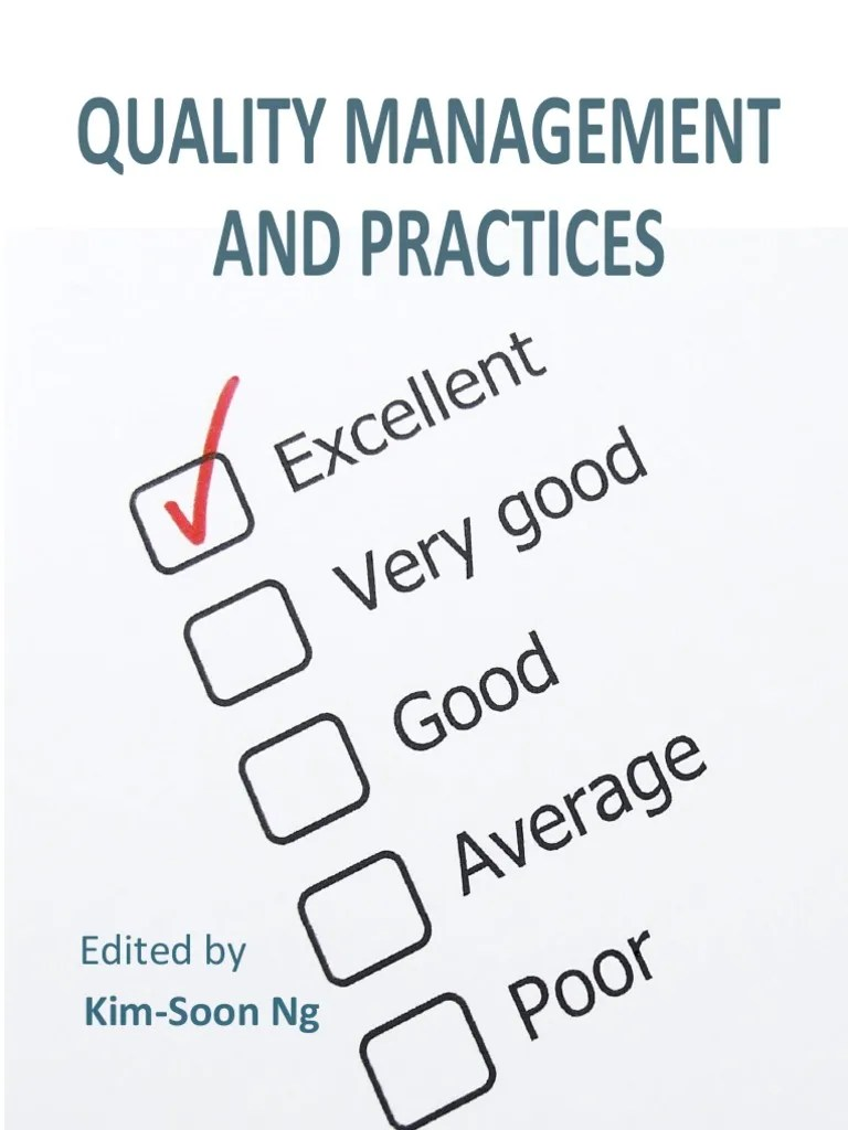 Quality management practices i to 12 quality management quality management system