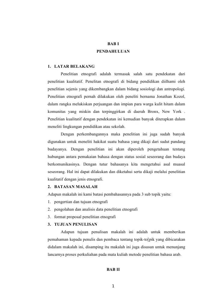 Contoh Penelitian Etnografi : contoh, penelitian, etnografi, Contoh, Pendahuluan, Makalah, Etnografi