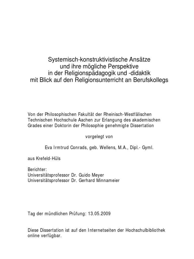 Conrads Eva Systemisch Konstruktivistische Ansatze Und Ihre