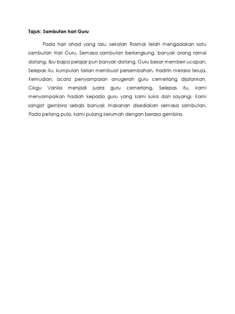 Contoh Karangan Sambutan Hari Guru Pt3