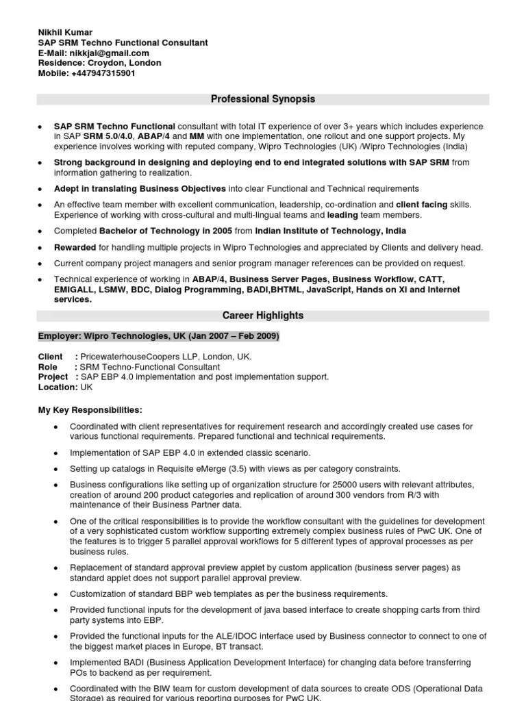 Sap Crm Techno Functional Consultant Resume. sap is industry ...