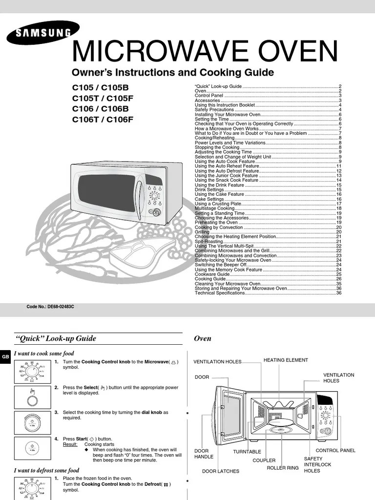 samsung microwave manual grilling oven