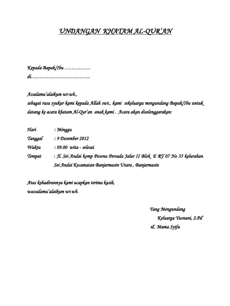 Undangan Khatam Al Docx