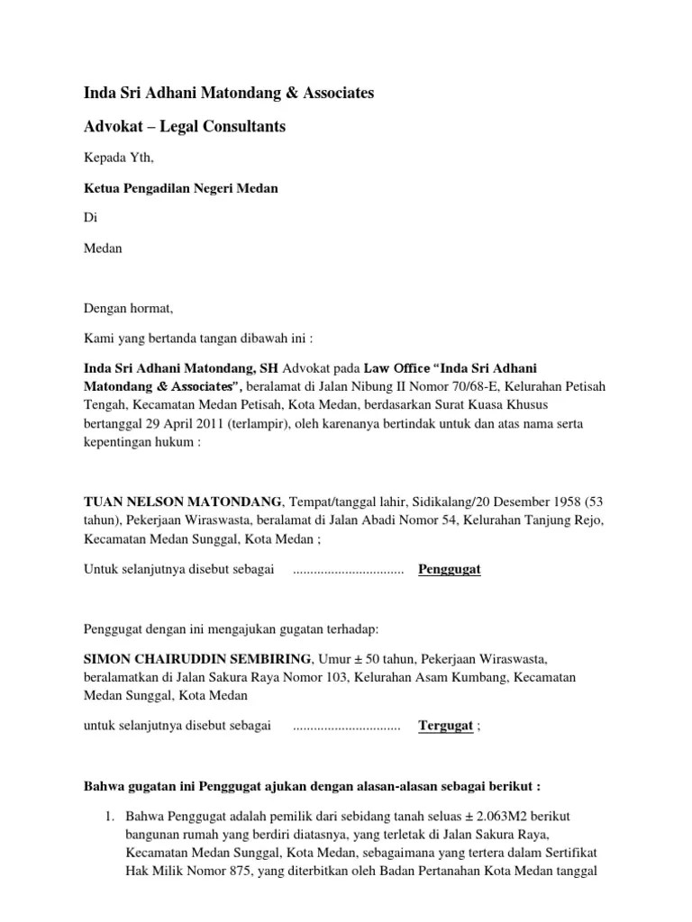 18 Contoh Surat Gugatan Ptun Medan