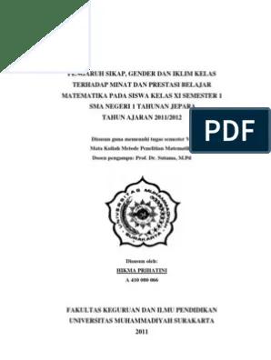 18 Contoh Skripsi Kuantitatif Matematika Pdf
