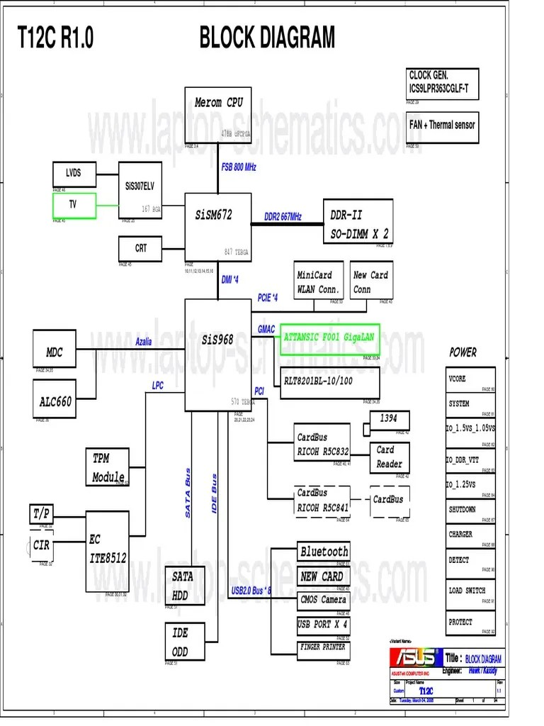 Asus T12C (X51C) Motherboard Schematic Diagram