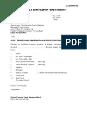 Contoh Surat Sokongan Ketua Jabatan Untuk Temuduga