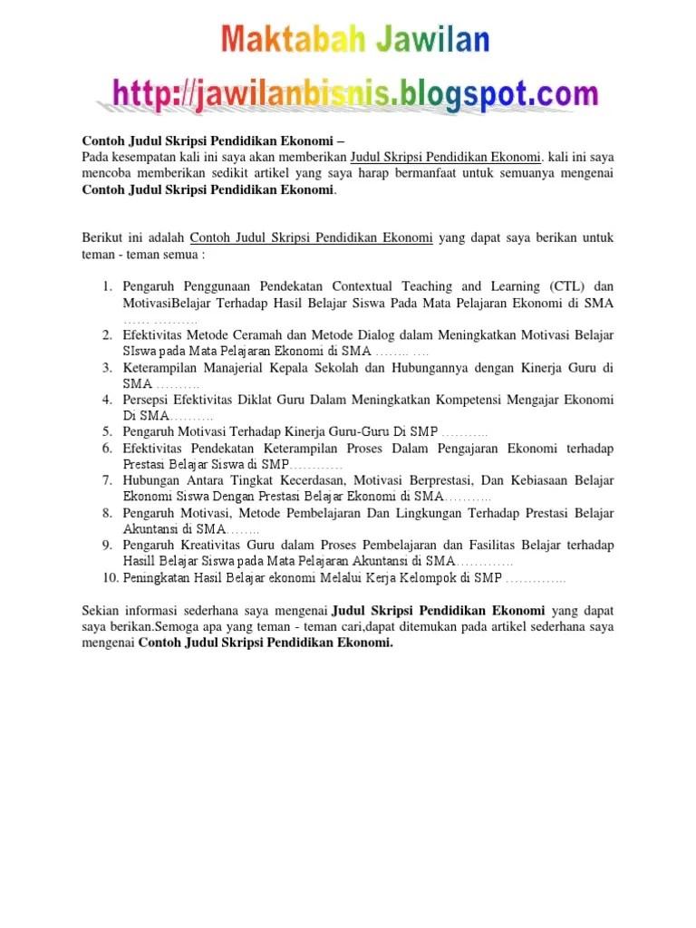19 Contoh Judul Skripsi Pendidikan Matematika Hubungan