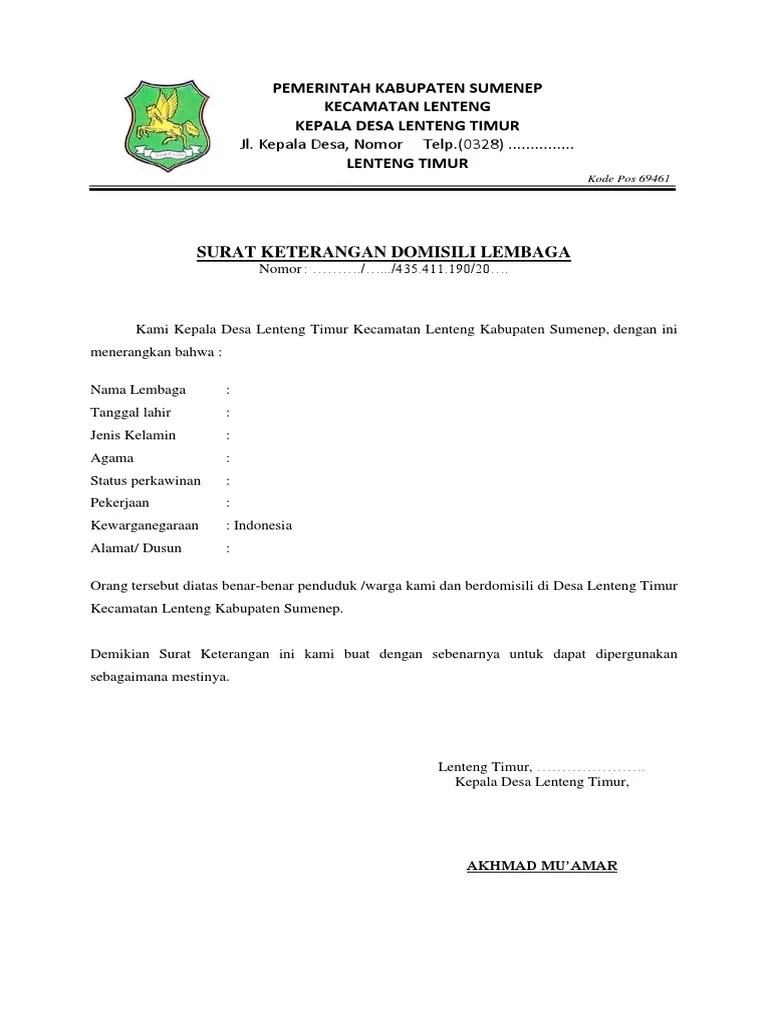 Contoh Surat Domisili Lsm Download Kumpulan Gambar