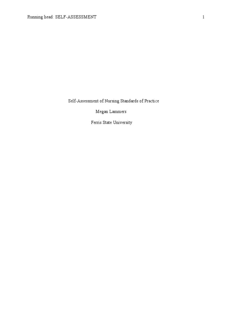 Self Assessment Of Nursing Standards Of Practice Nursing