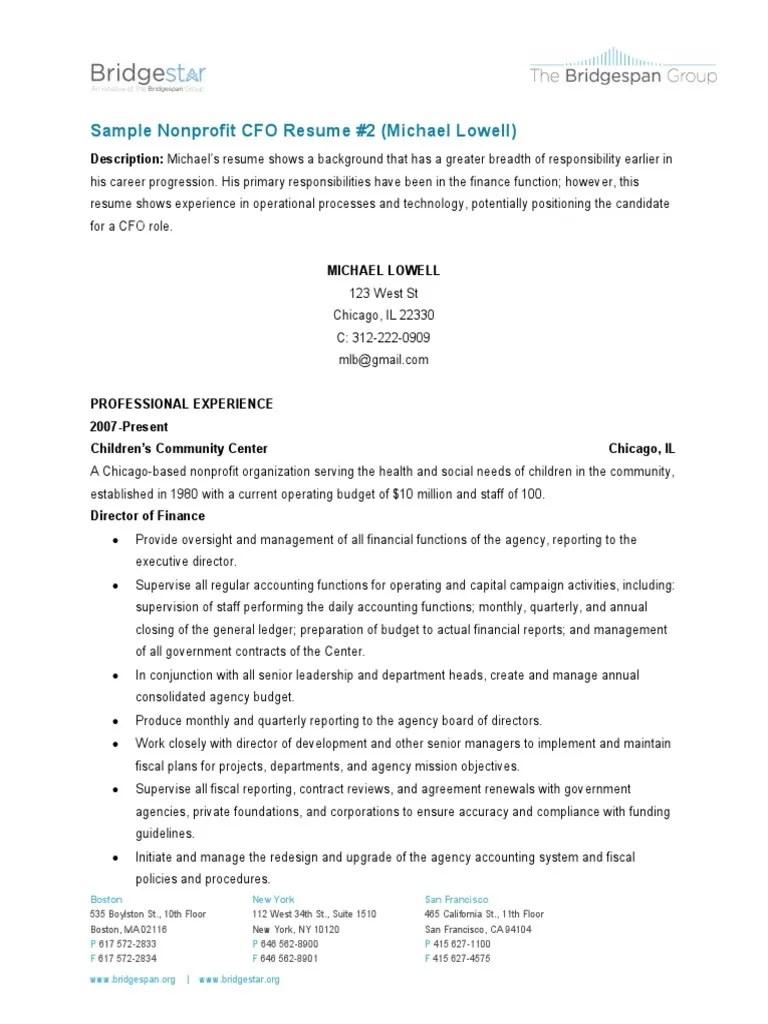 Sample Resume 2 Cfo Chief Financial Officer Nonprofit Organization