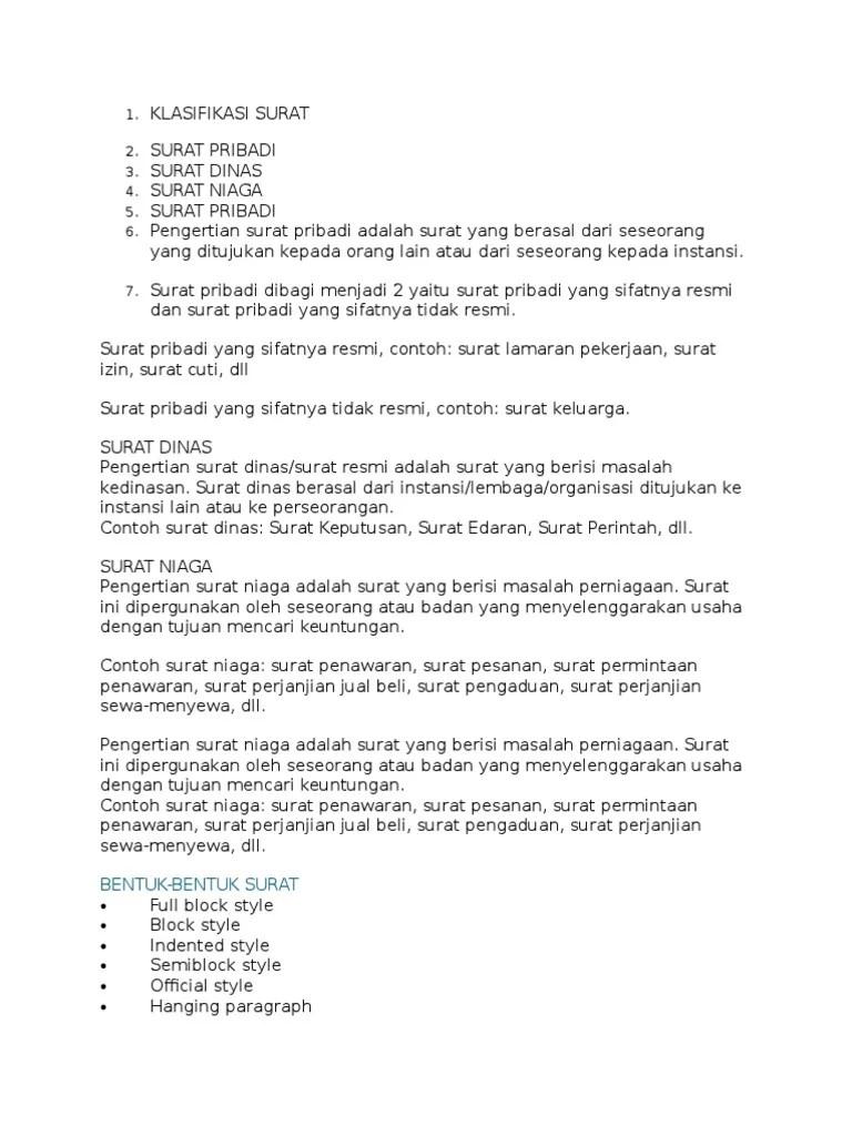Contoh Surat Edaran Full Block Style Download Kumpulan Gambar