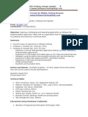 Mobile Testing Resume Sample Document Mobile App