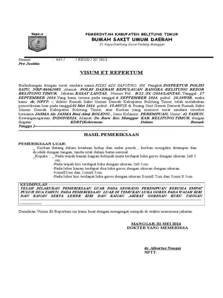 Contoh Surat Hasil Visum Et Repertum Download Kumpulan Gambar
