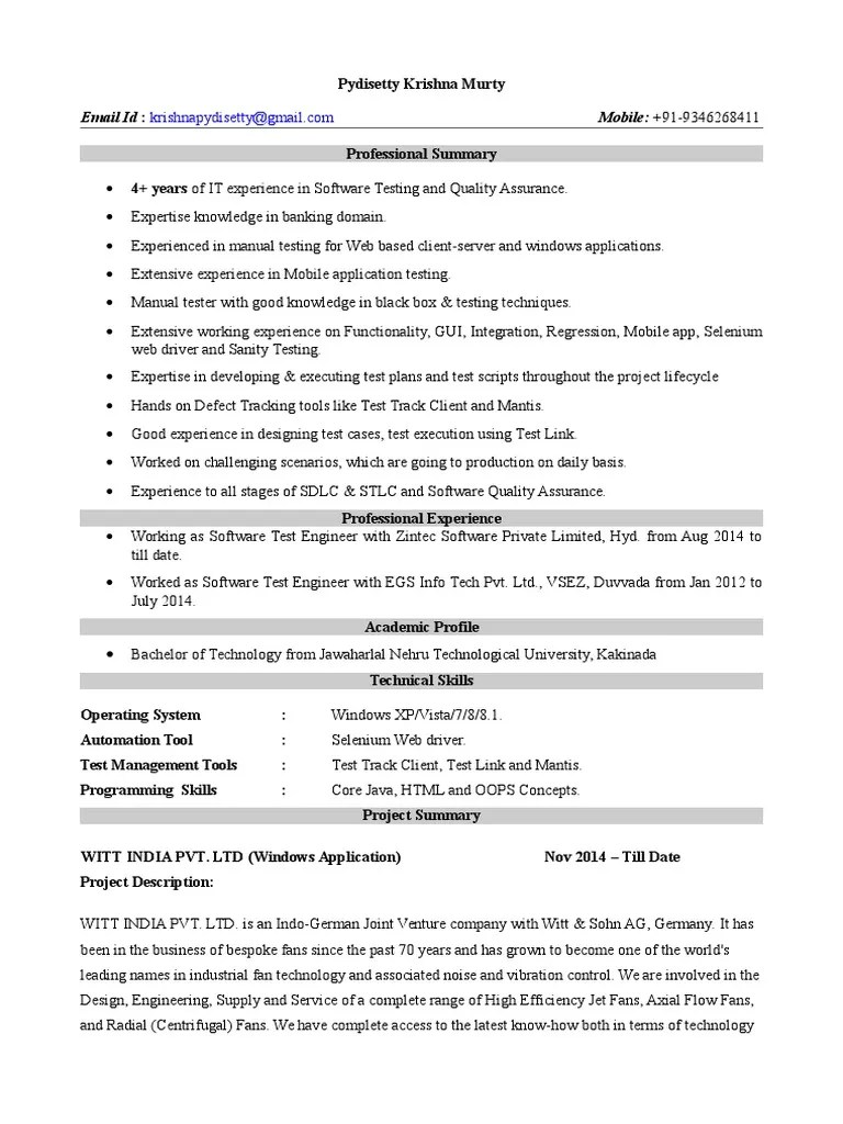 4 Years Manual And Mobile App Testing Resume Software Bug