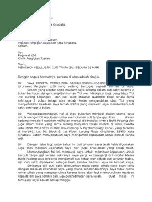 Surat Permohonan Cuti Tanpa Gaji Urusan Peribadi