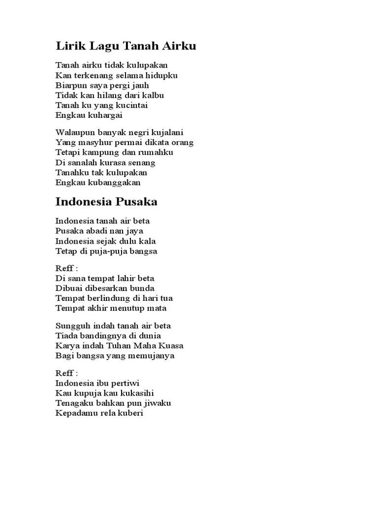 Syair Lagu Indonesia Pusaka : syair, indonesia, pusaka, Lirik, Tanah, Pusaka