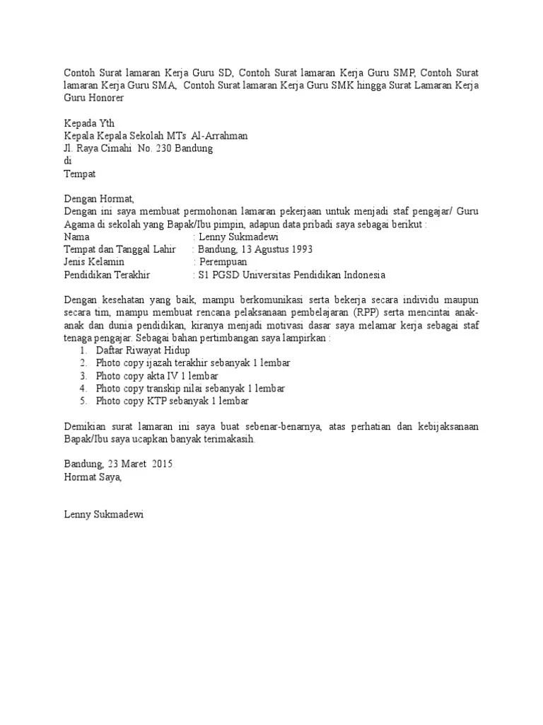 Contoh Surat Lamaran Kerja Guru Ips Download Kumpulan Gambar