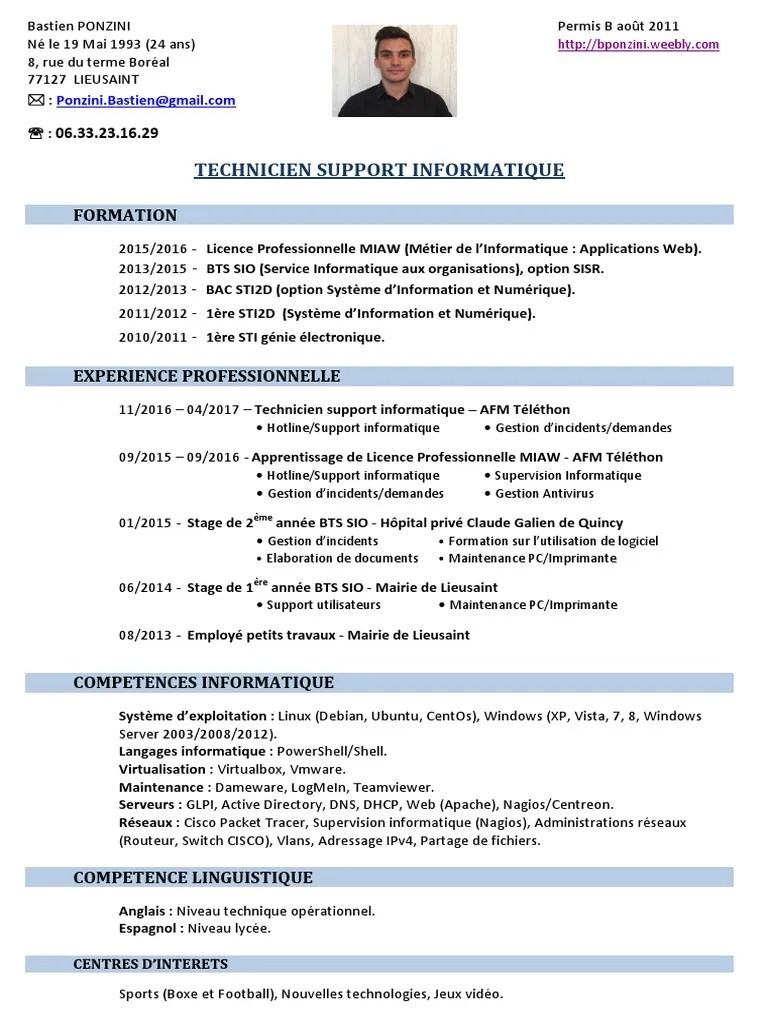 Ponzini Bastien Info Cv Informatique Serveur Informatique