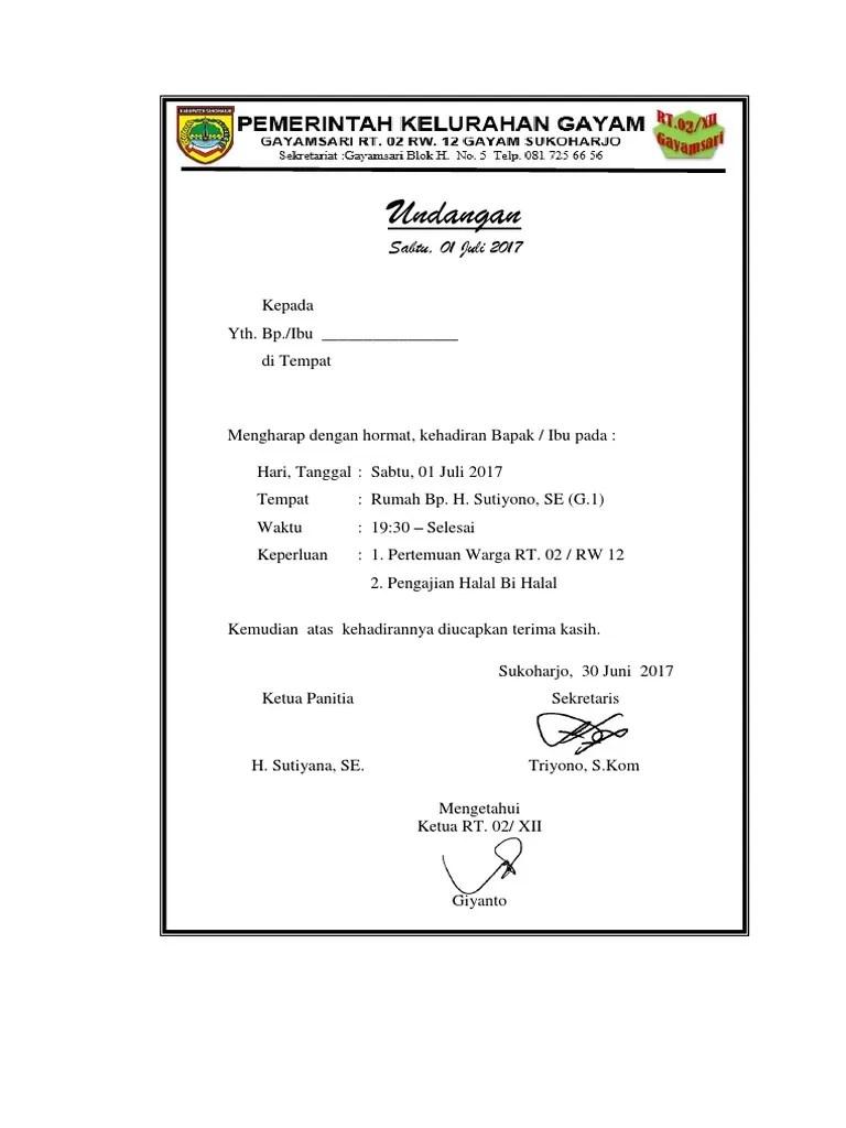 Undangan Halal Bi Halal Warga Rt 2 12 2017 Docx