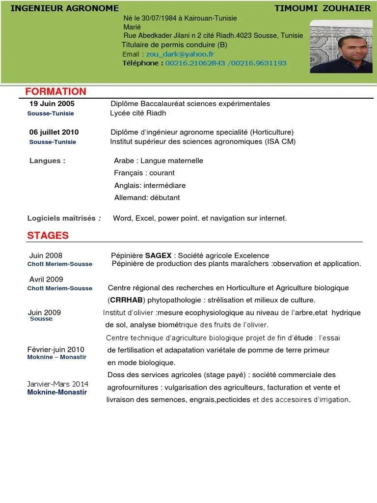 Cv Francais Science Agricole Agriculture Biologique