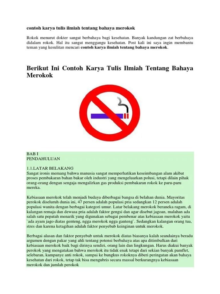 18 Makalah Karya Ilmiah Bahaya Merokok Bagi Kesehatan