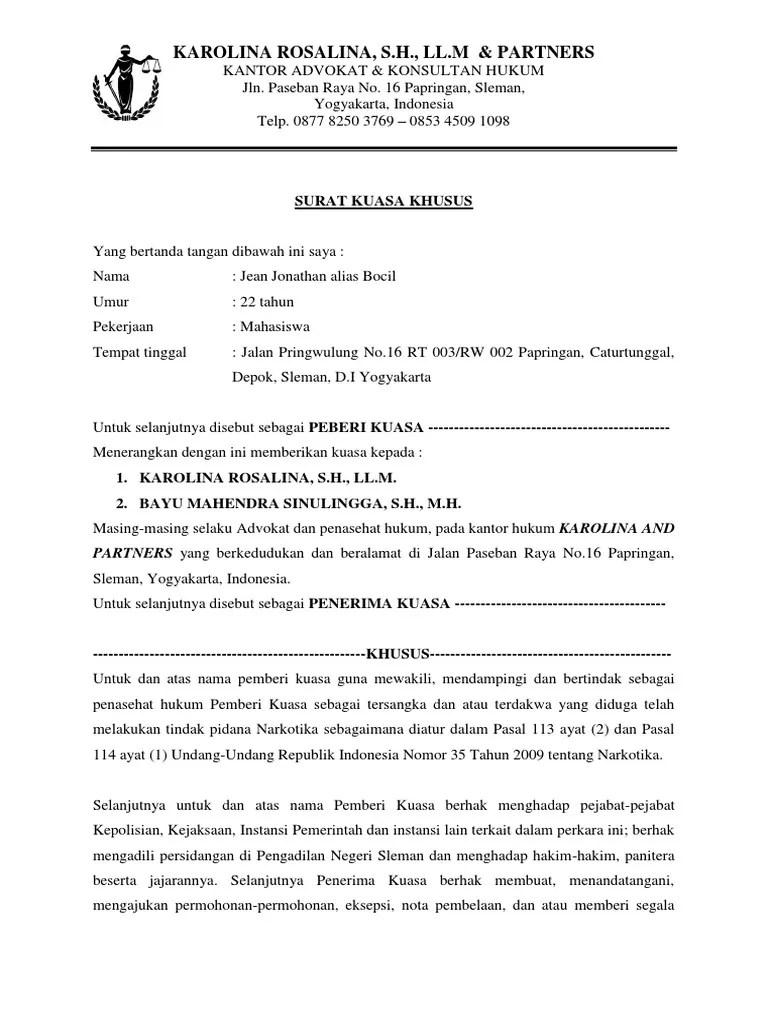 Contoh Surat Kuasa Penasehat Hukum Kumpulan Contoh Surat Dan Soal Terlengkap