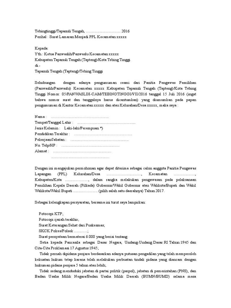 Contoh Surat Lamaran Panwaslu Desa Download Kumpulan Gambar