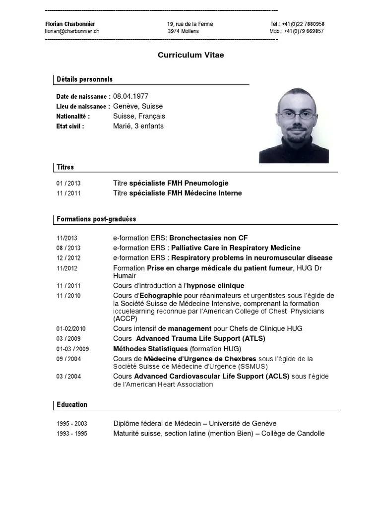 Cv Charbonnier 2013 Hopital Medecine De Soins Intensifs