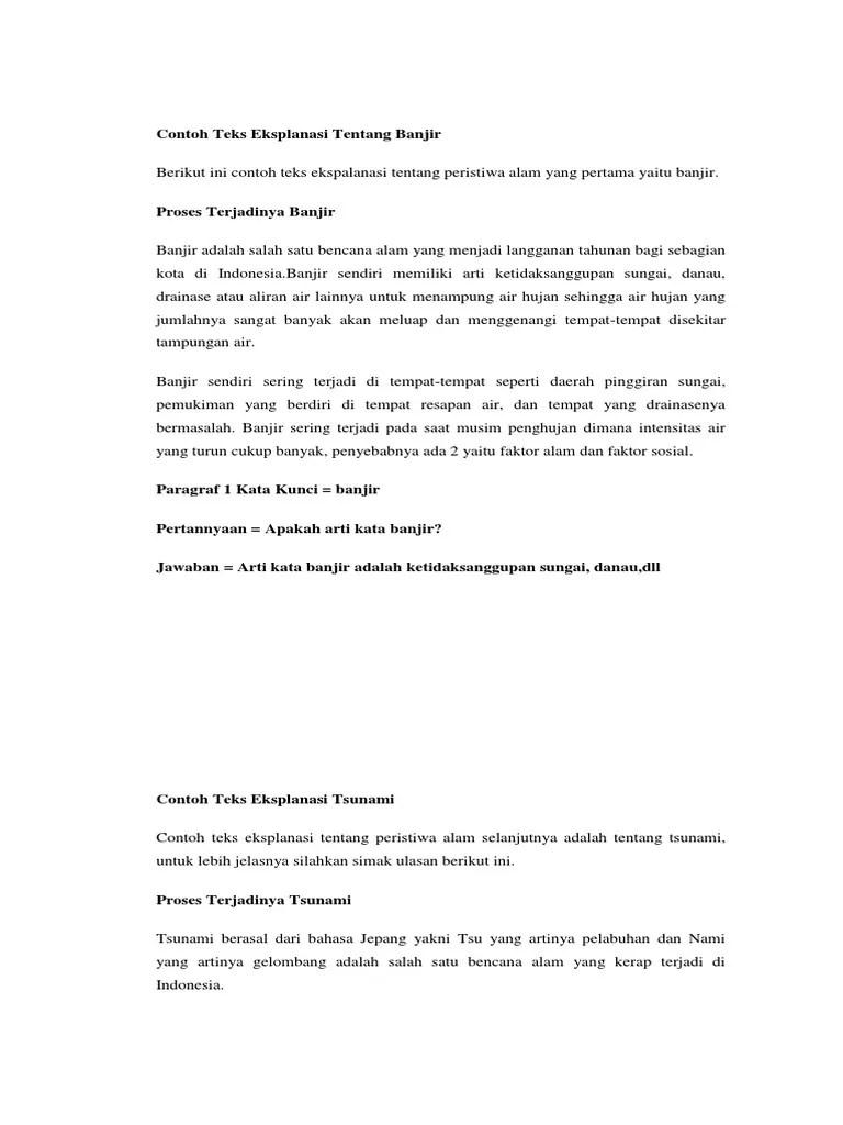 Teks Eksplanasi Beserta Strukturnya : eksplanasi, beserta, strukturnya, Eksplanasi, Banjir, Jakarta, Beserta, Strukturnya, Pendidikan