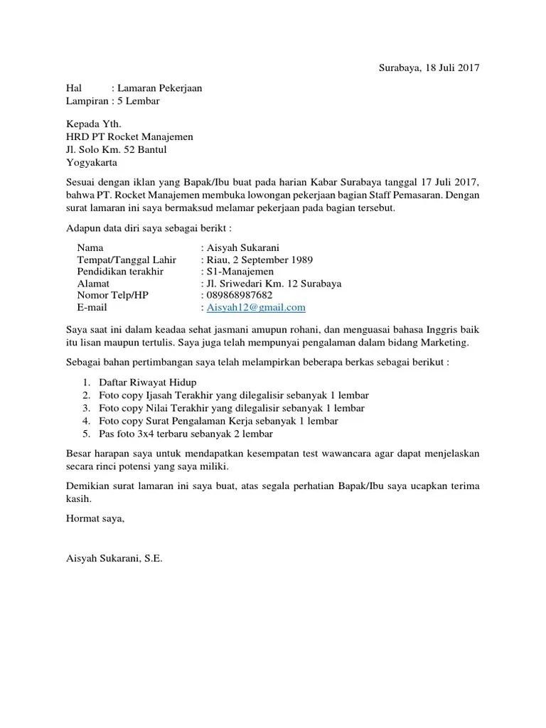 15 Contoh Surat Lamaran Kerja Di Buku Bahasa Indonesia Kelas 12