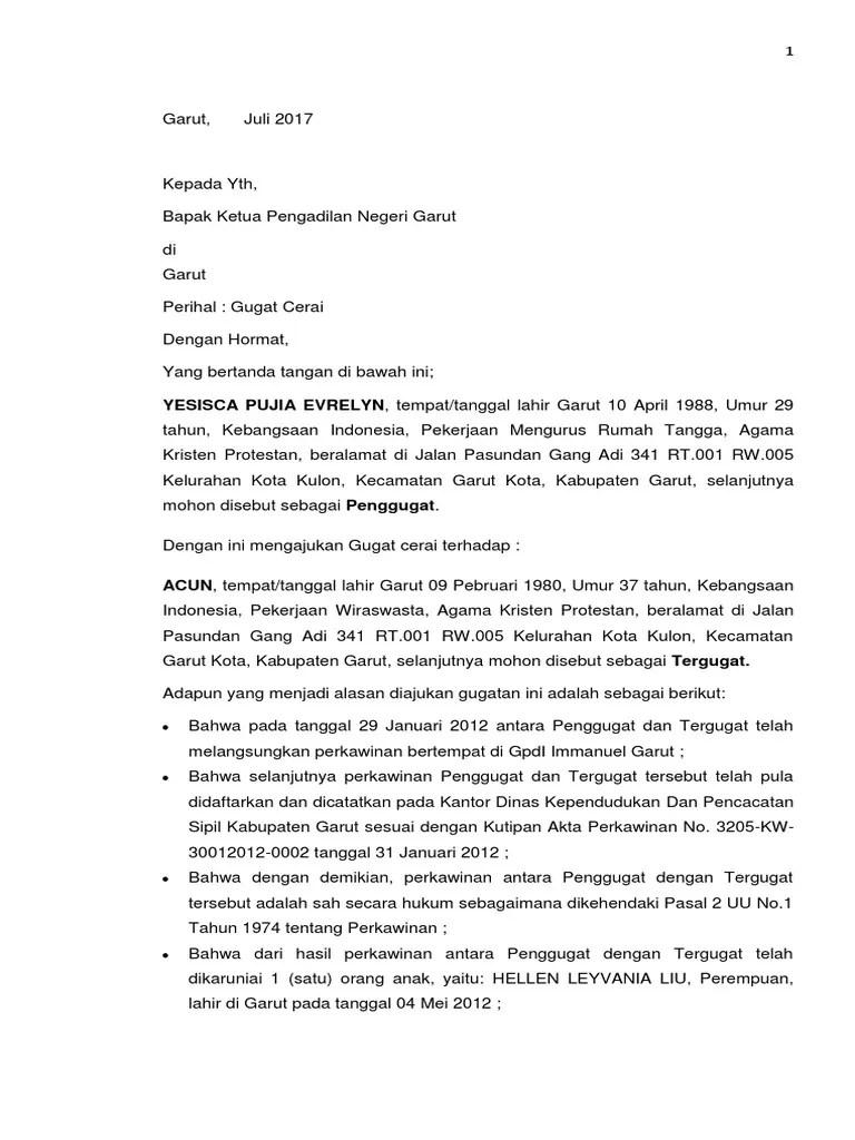 Contoh Surat Gugatan Cerai Nasrani Download Kumpulan Gambar