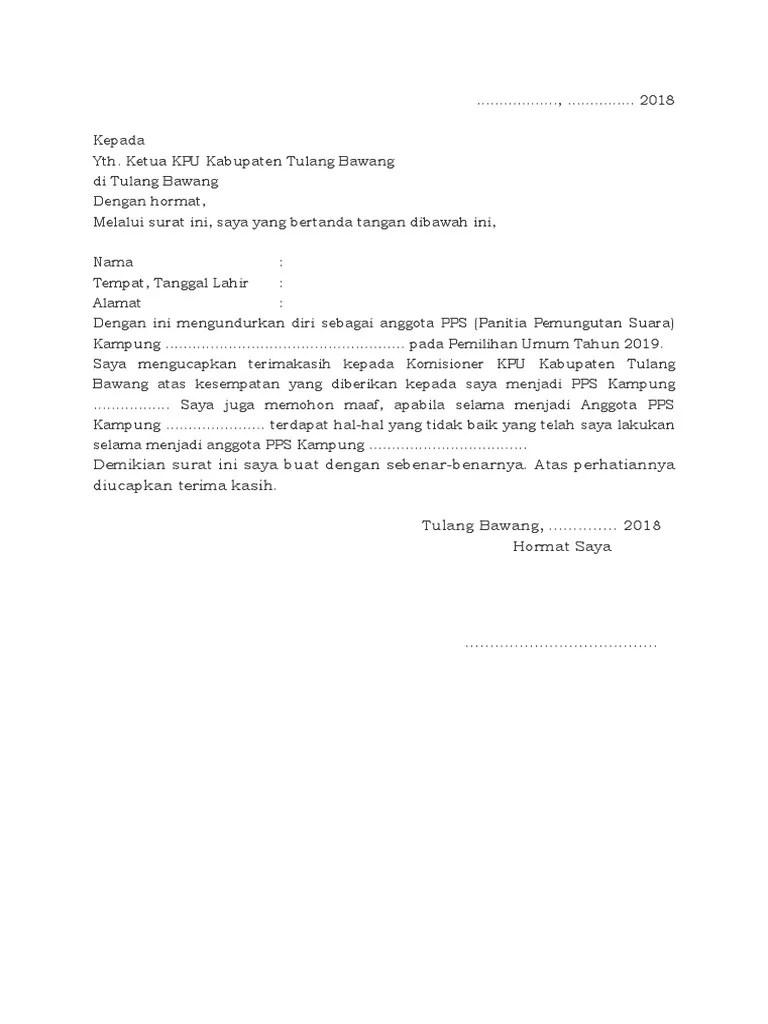 15 Contoh Surat Pernyataan Pengunduran Diri Anggota Pps