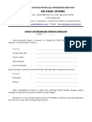 Contoh Surat Keterangan Pindah Sekolah Tk