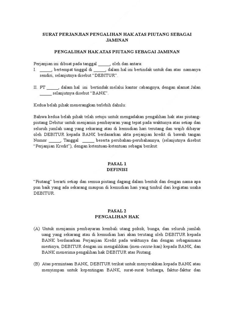 19 Contoh Surat Pernyataan Pengalihan Pembayaran Hutang